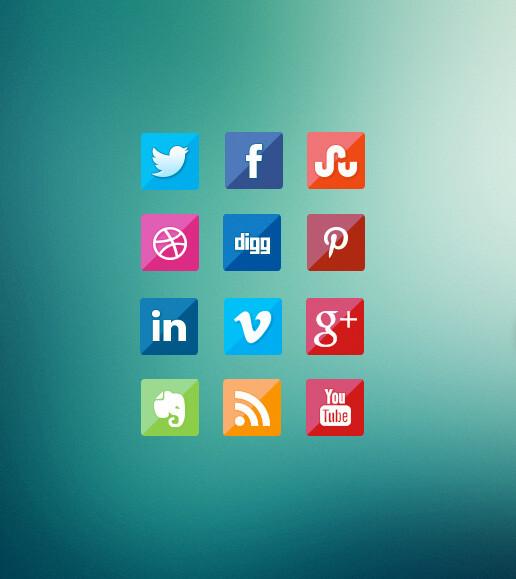 12 iconos gratuitos de redes sociales de estilo cristal