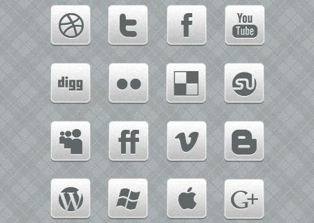 16 iconos sociales gratuitos de estilo metálico monocromo para uso personal y comercial