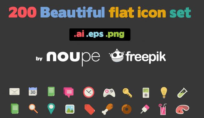 200 iconos gratuitos de diseño sencillo y a color para uso comercial y personal