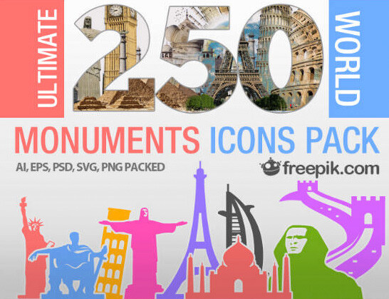 250 iconos gratuitos de monumentos para uso personal y comercial