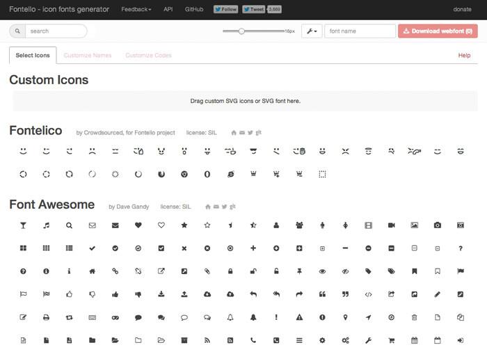 Genera tu tipografía de iconos para la creación de diseños web con Fontello